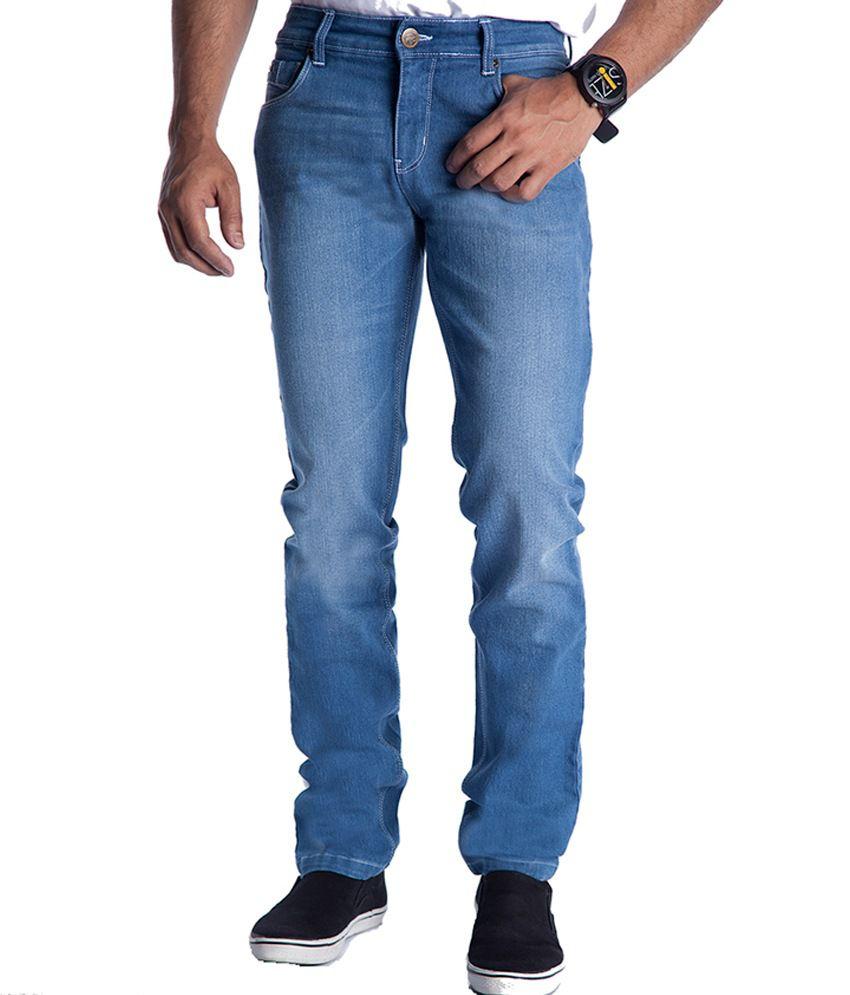 Eurojeans Blue Faded Cotton Blend Jeans