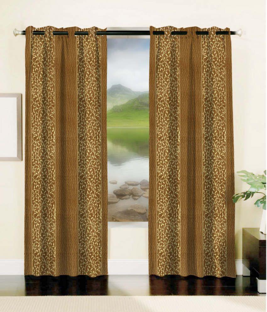 Mahamantra floral brown curtain fabric buy mahamantra for Buy curtain fabric online