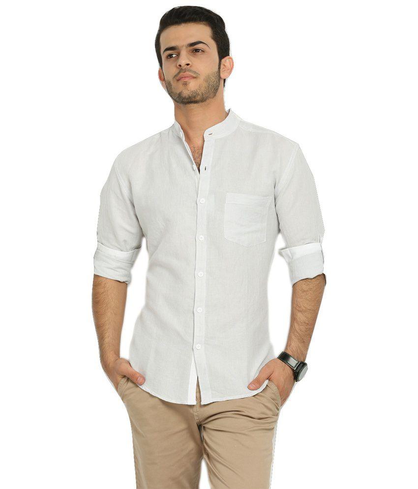 Nick jess mens light grey linen mandarin collared shirt for Mens light blue linen shirt