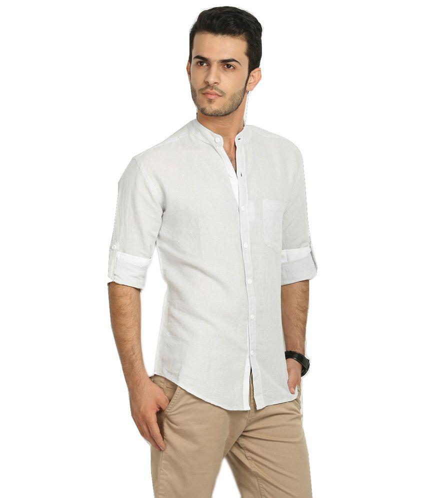 69330a9cfe Nick&Jess Mens Light Grey Linen Mandarin Collared Shirt - Buy ...