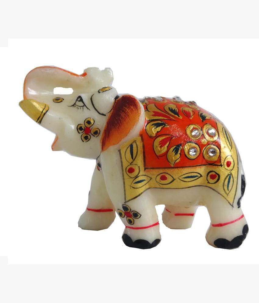 Unique Marble Elephant Decorated With Beautiful Stone Painting Work