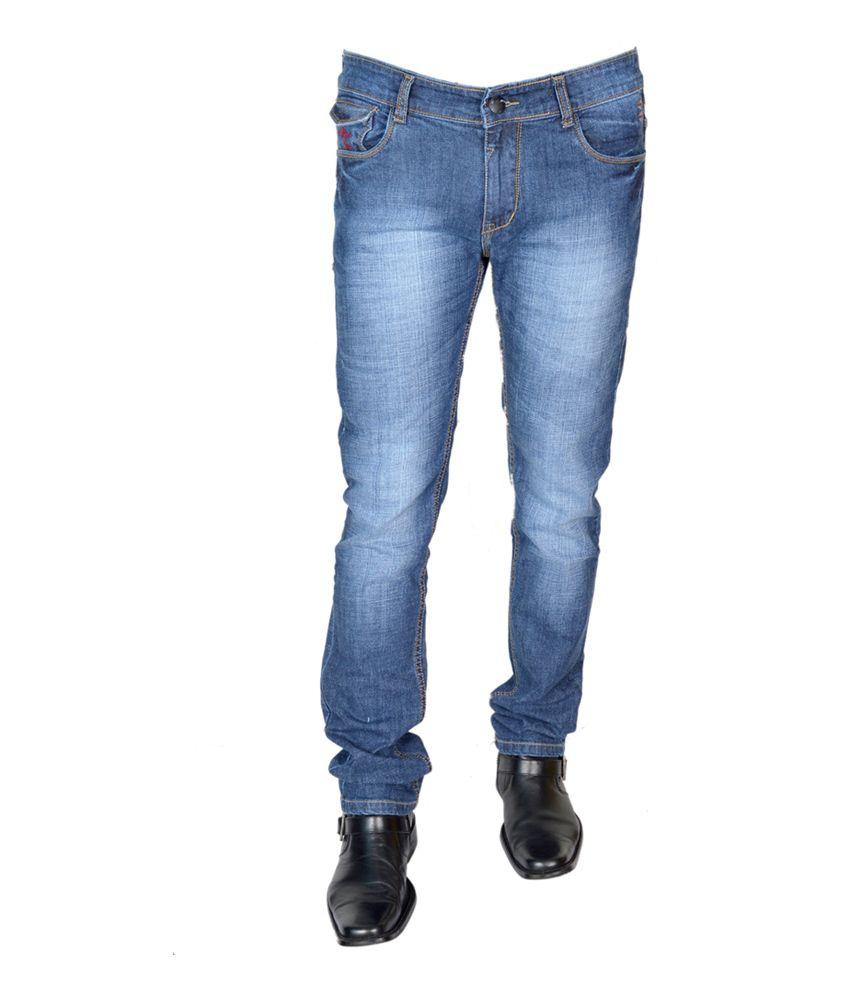 A-man Jns Blue Cotton Blend Slim Fit Faded Jeans