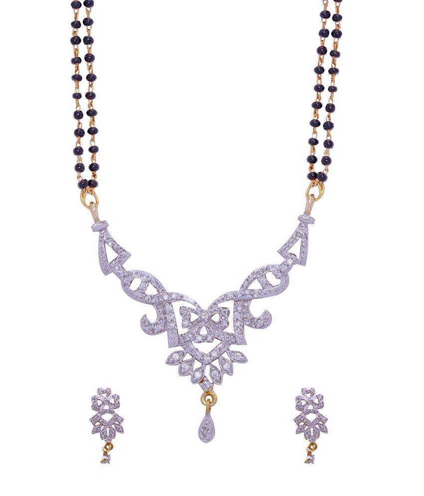 ADITRI CZ Mangalsutra Earrings Set (WHITE GOLD) (MS 1001)