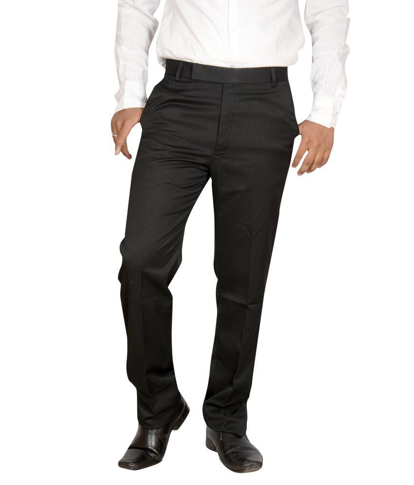 Addiction Gray Cotton Regular Formals Trouser