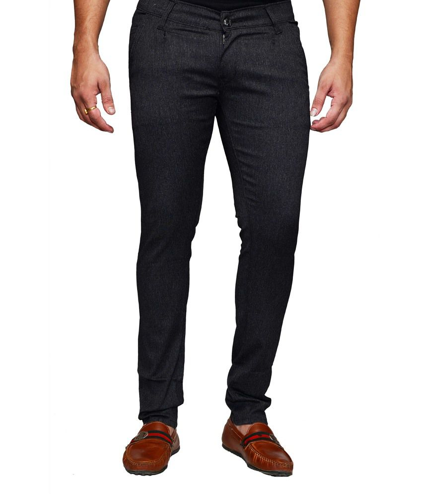Denim Cafe Cotton Black Lycra Chinos