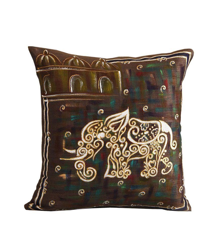 Rang Rage Royal Elephant Dark Grey Silk Hand Painted Cushion Cover