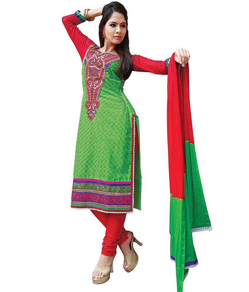 Vaani Persian Green Fine Cotton Embroidered Long Karachi Suit