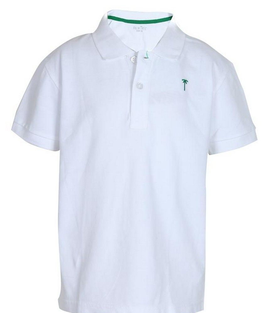 T shirt white colour - Gini Jony Half Sleeves White Color Polo T Shirts For Kids