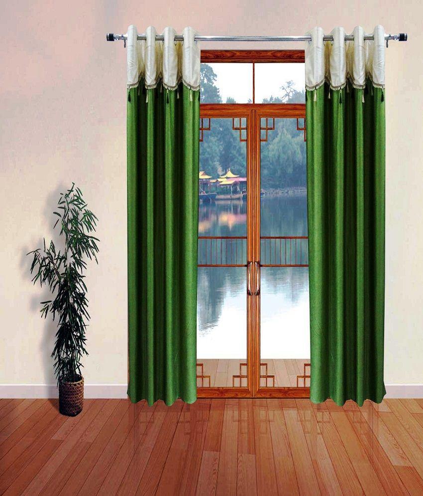 Homefab India Set of 2 Long Door Eyelet Curtains Solid Green