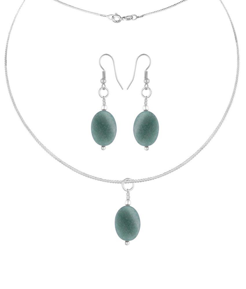 Pearlz Ocean Azalea 2.5 Inch Aventurine Beads Pendant Set