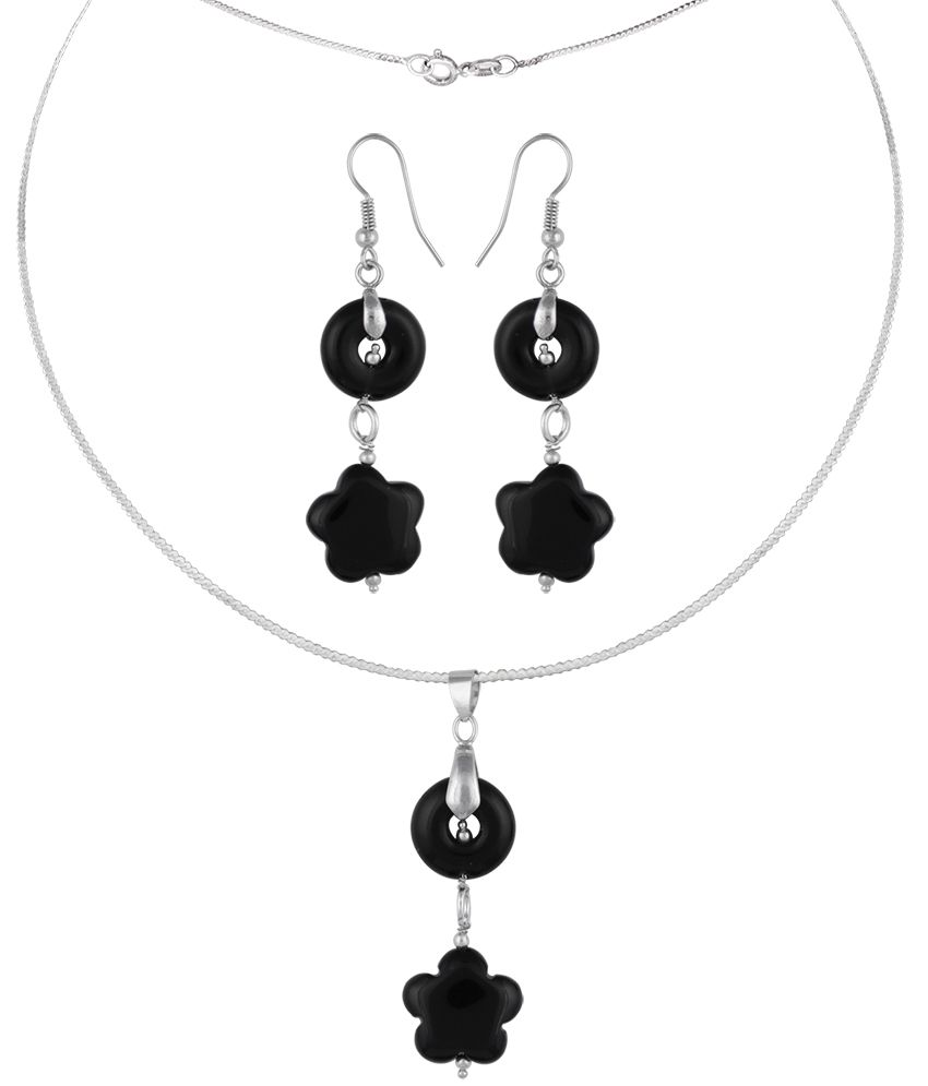 Pearlz Ocean Dixie Chic 2.5 Inch Obsidian & Agate Beads Pendant Set