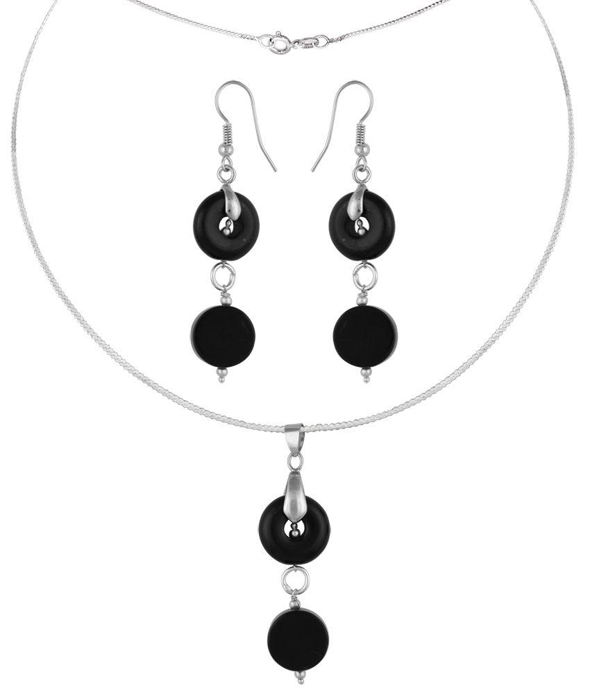 Pearlz Ocean Huxley 2.5 Inch Agate & Obsidian Beads Pendant Set