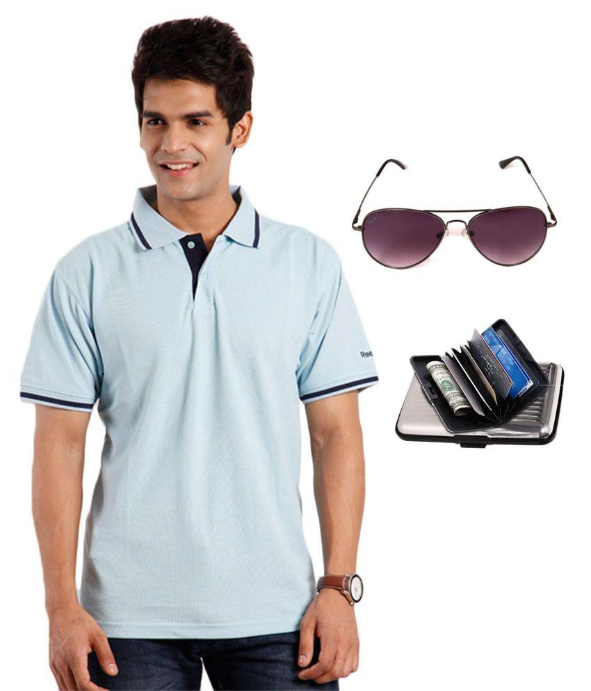 Reebok Blue Half Sporty Polo T-shirt And Elligator Sunglasses With Elligator Cardholder