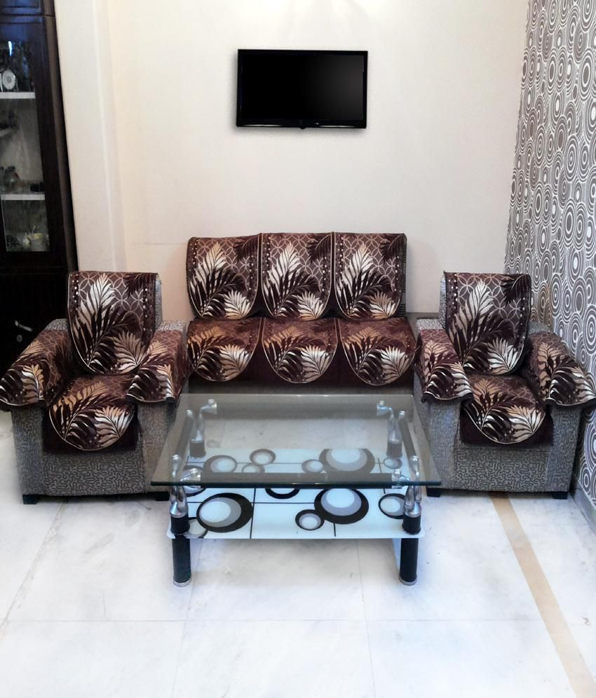 Buying A Couch Online: Shc Eucalypto Brown Sofa Cover Set With 6 Arms