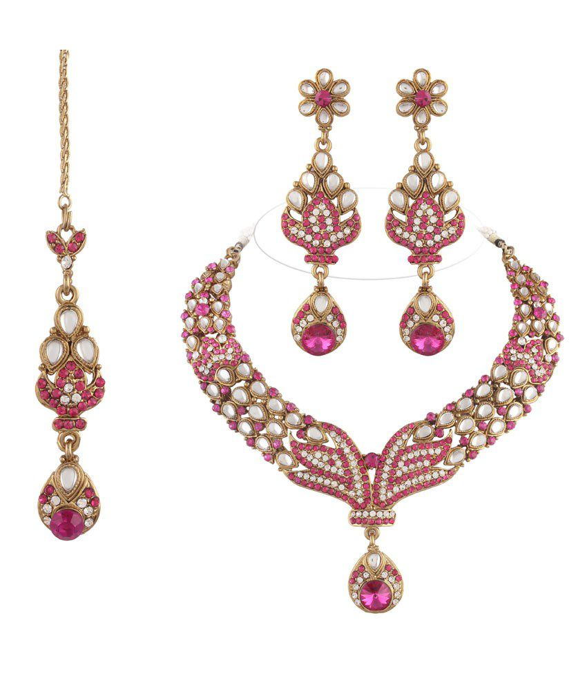 I Jewels Multicolor Necklace Set with Maang TIkka