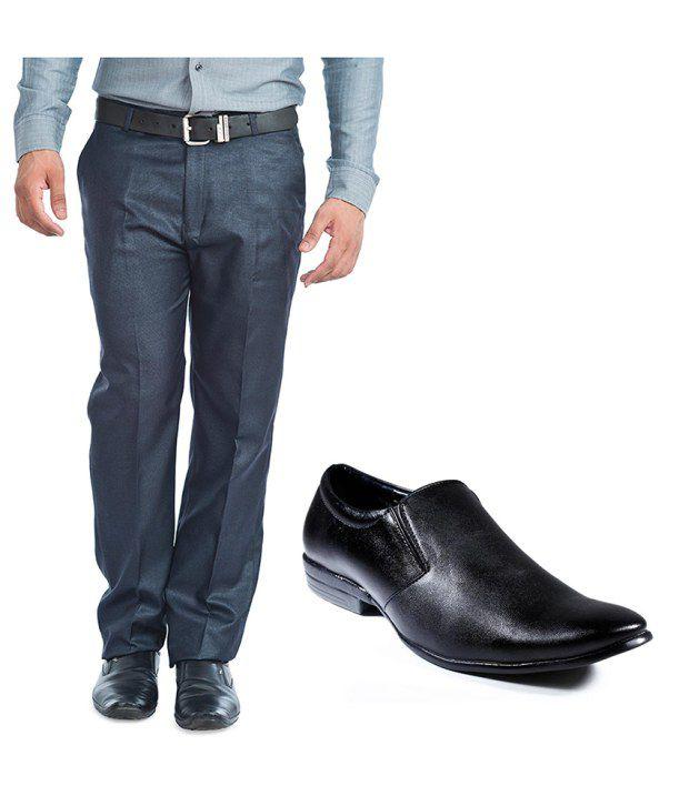 BLE Blue Trouser & Formal Shoes Combo
