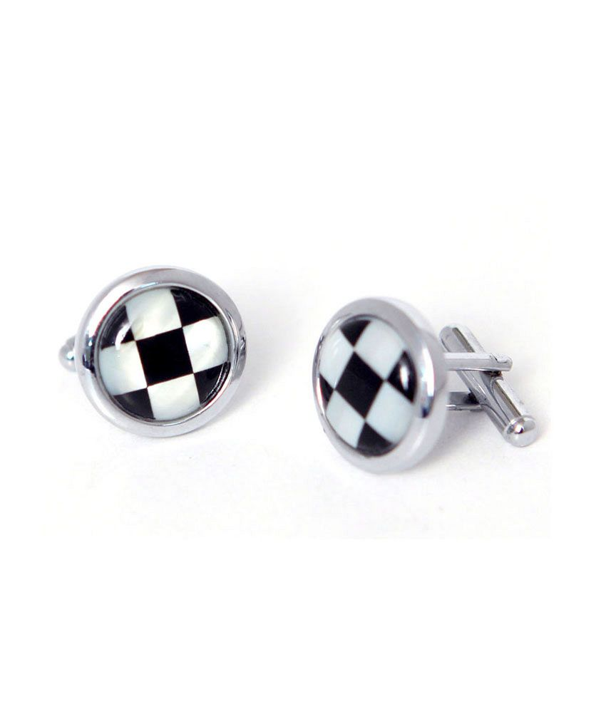 Blacksmithh Mother Of Pearl Shell Cufflink (black)