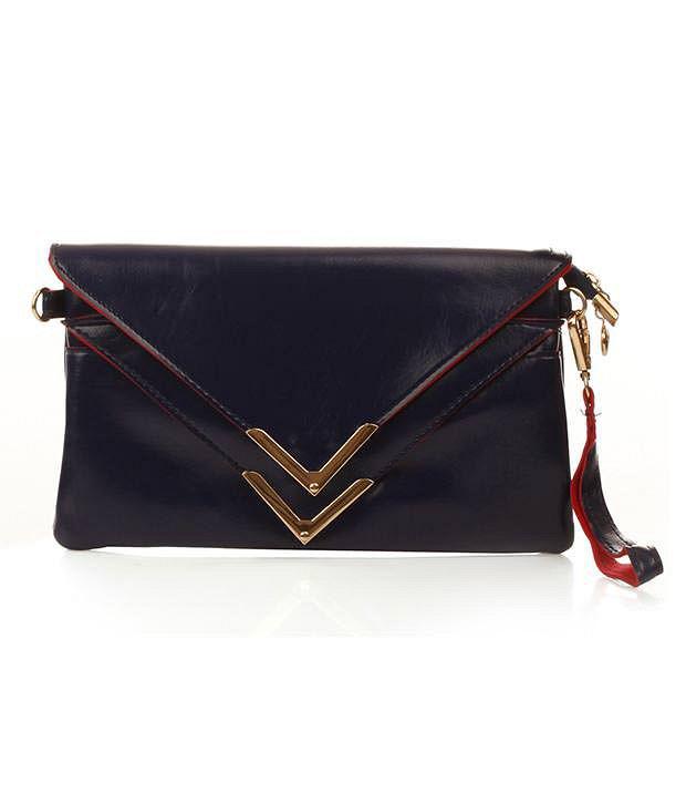 Ella Bags Triangular Flap Envelope Clutch  Blue