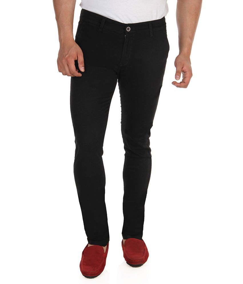 Missile Black Regular Casuals Chinos