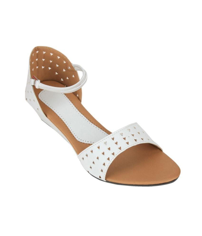 Sindhi Footwear White Wedges Sandals