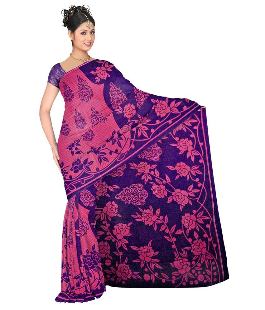 Vogue Era Pink Faux Georgette Printed Desginer Saree  available at snapdeal for Rs.294