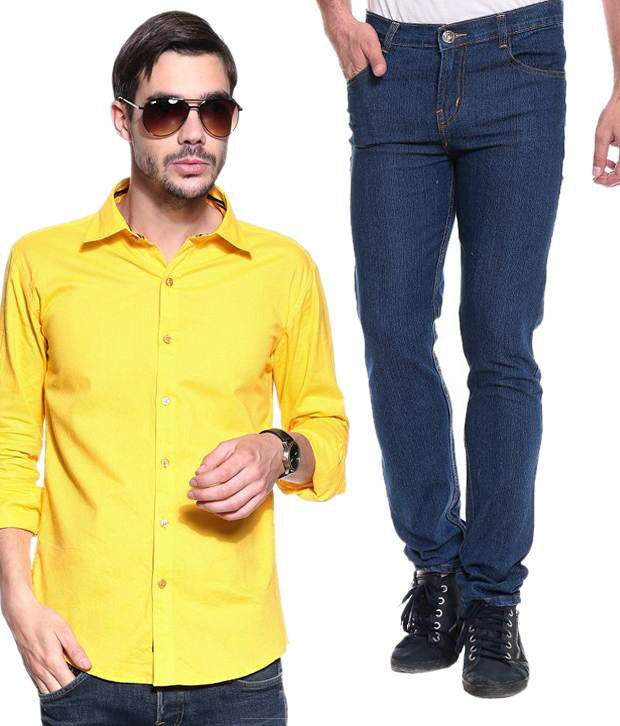 Akaas Blue Slim Jeans With Yellow Shirt