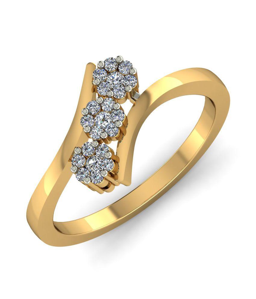 Kuberbox 14k Gold Diamond Teen Phool Ring