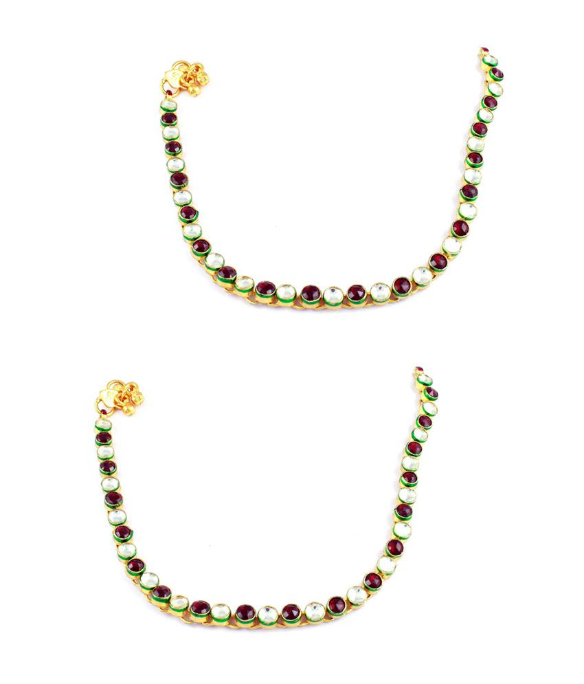 Orniza Single line Payal in Kundan stones with Maroon & white color