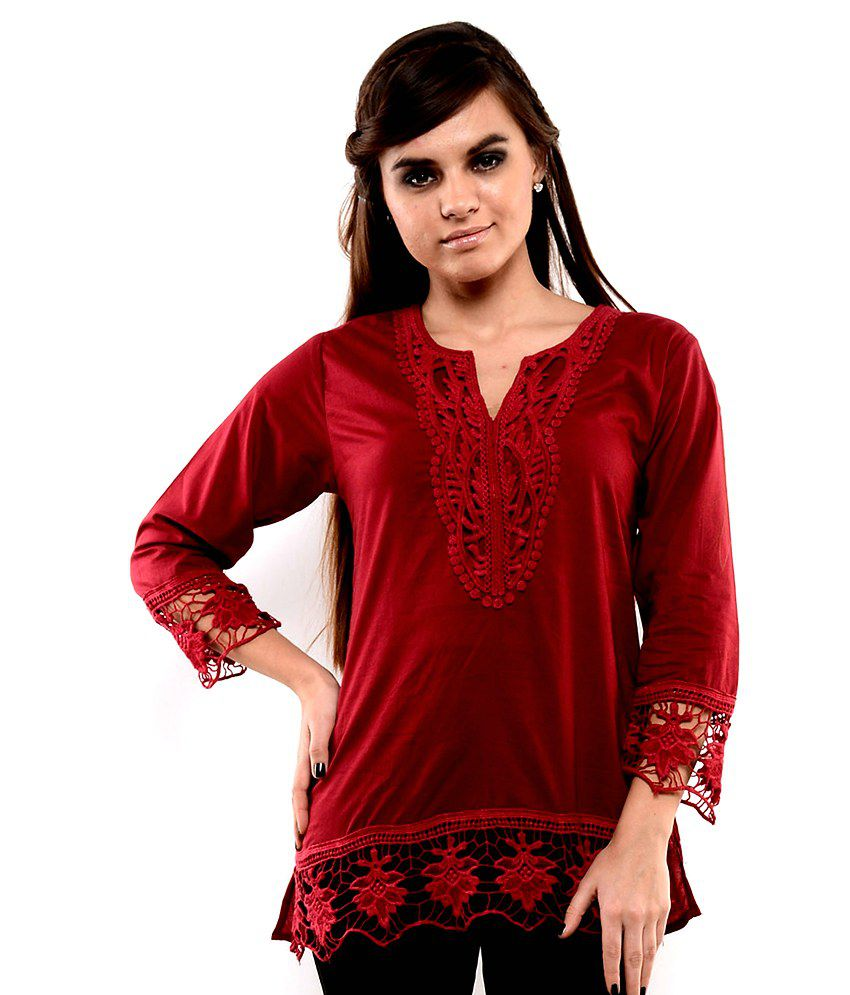 7089fe591 U F Maroon Cotton Tops - Buy U F Maroon Cotton Tops Online at Best Prices  in India on Snapdeal