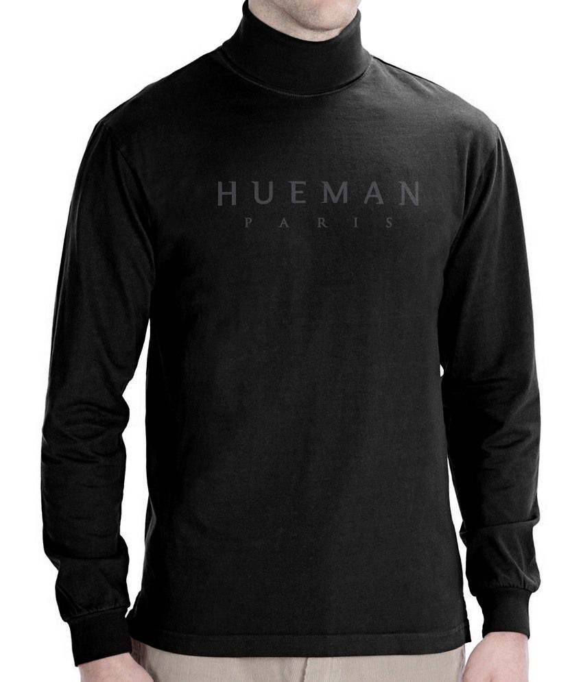 Hueman black cotton music bands full sleeves high neck t for High neck tee shirts