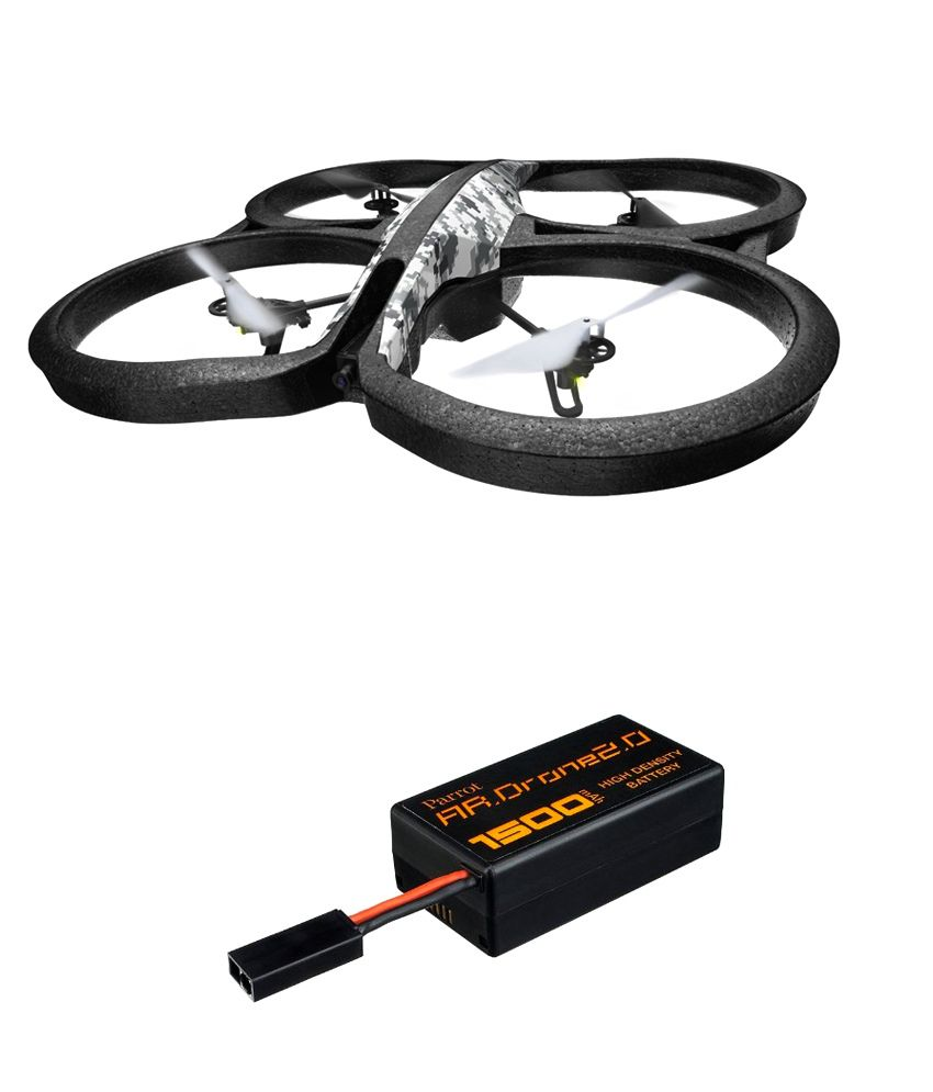Parrot AR.Drone 2.0 Elite Edition Snow + Drone Battery (HD) 1500 mAH - Combo Offer By Flipper