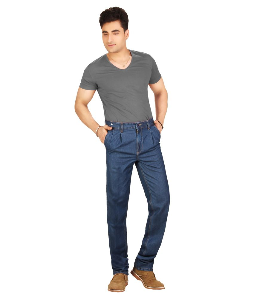 Warewell Blue Regular Fit High Rise Denim Jean For Men