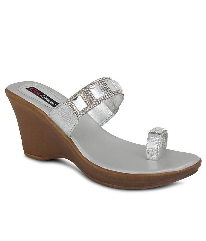 Get Glamr Silver Heeled Slip-On