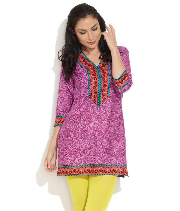 Ayaany Purple Forever Chic Ethnic Prints Kurti
