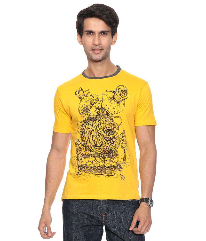 Colt Yellow Cotton Blend T-shirt