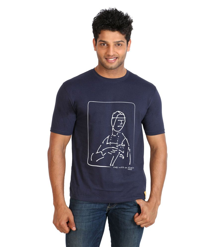 Campus Sutra Blue Cotton T-shirt