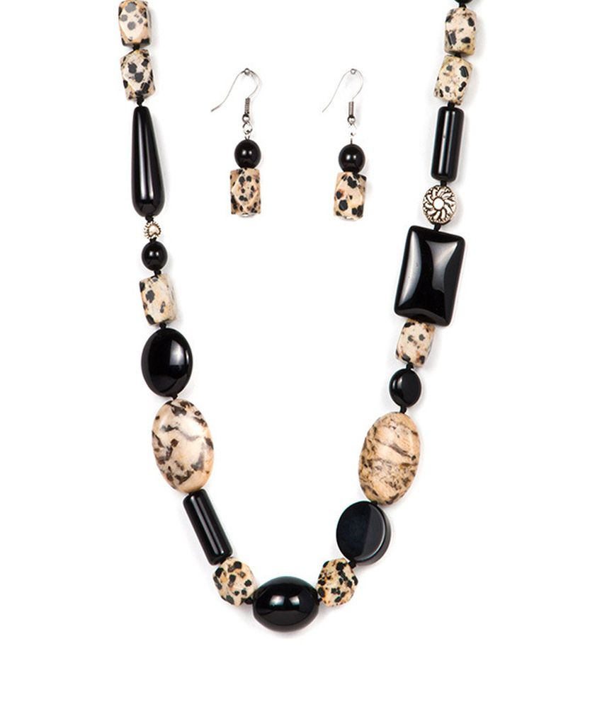 Just Women Black Black Onyx And Dalmatian Necklace Set