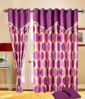 Cortina Pink Contemporary Polyester Long Door Curtain