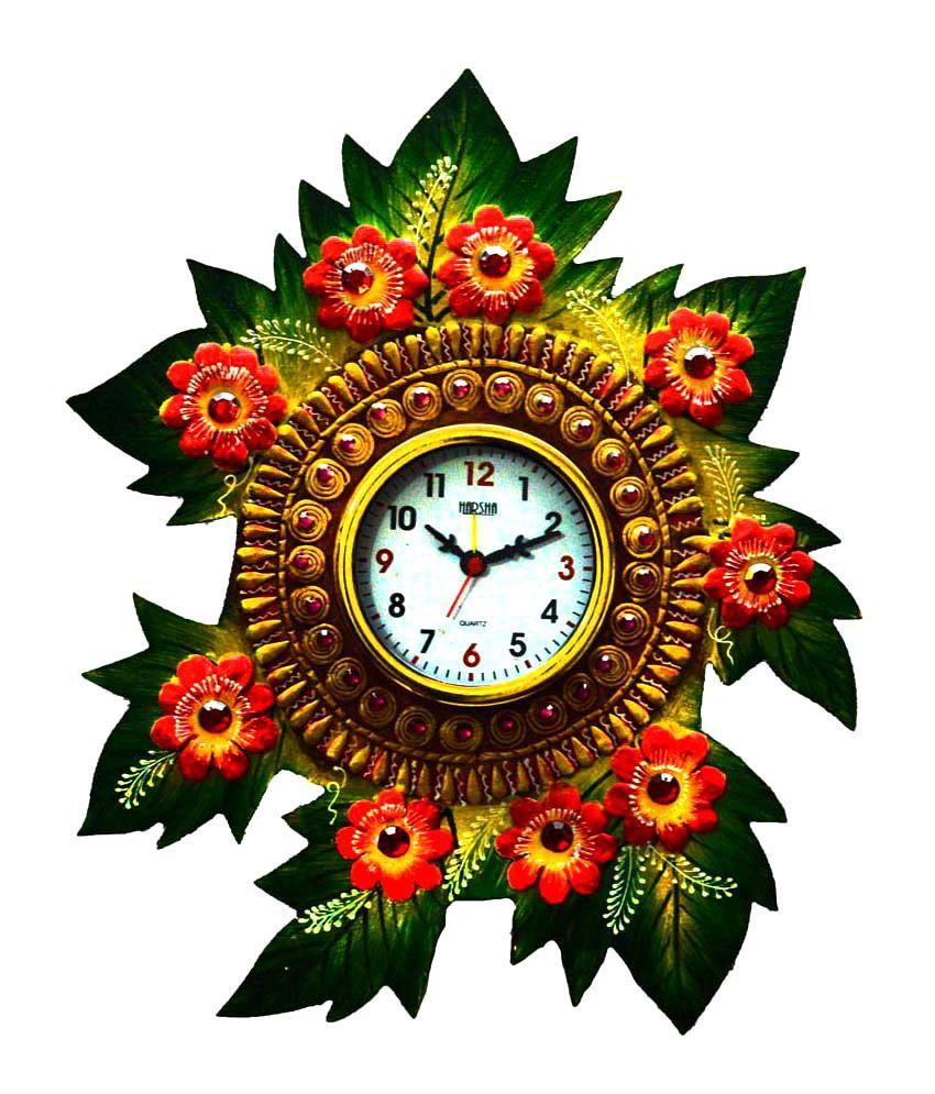 eCraftIndia Multicolor Papier-mache Floral Wall Clock