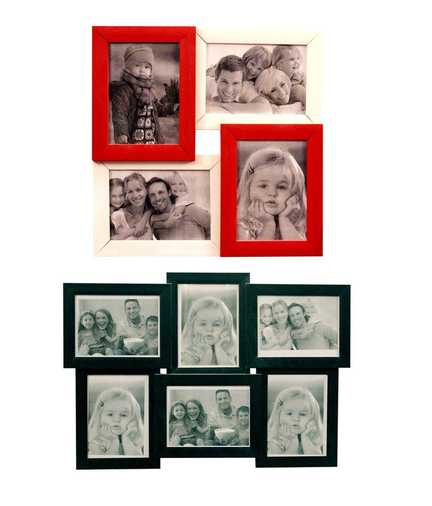 Invogue Buy 1 Get 1 Black Synthetic Wood Photo Frame Combo Of 2