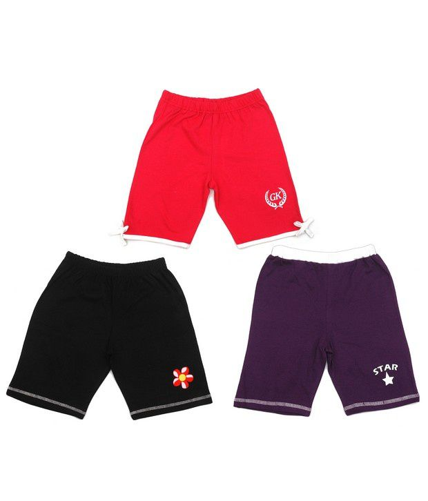 Goodway Pack of 3 Girls Knee Length Shorts - Flower - Contrast Bow & Star Printed Shorts