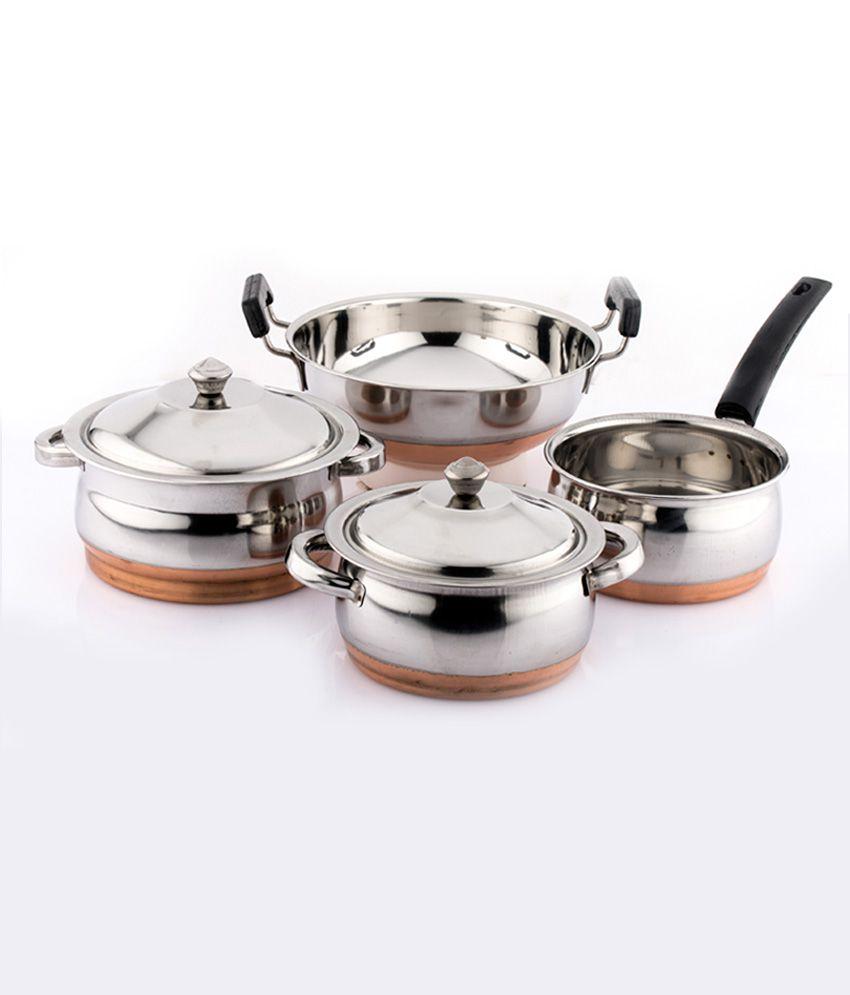 Mahavir Silver Stainless Steel 4 Pcs Copper Bottom Cook N