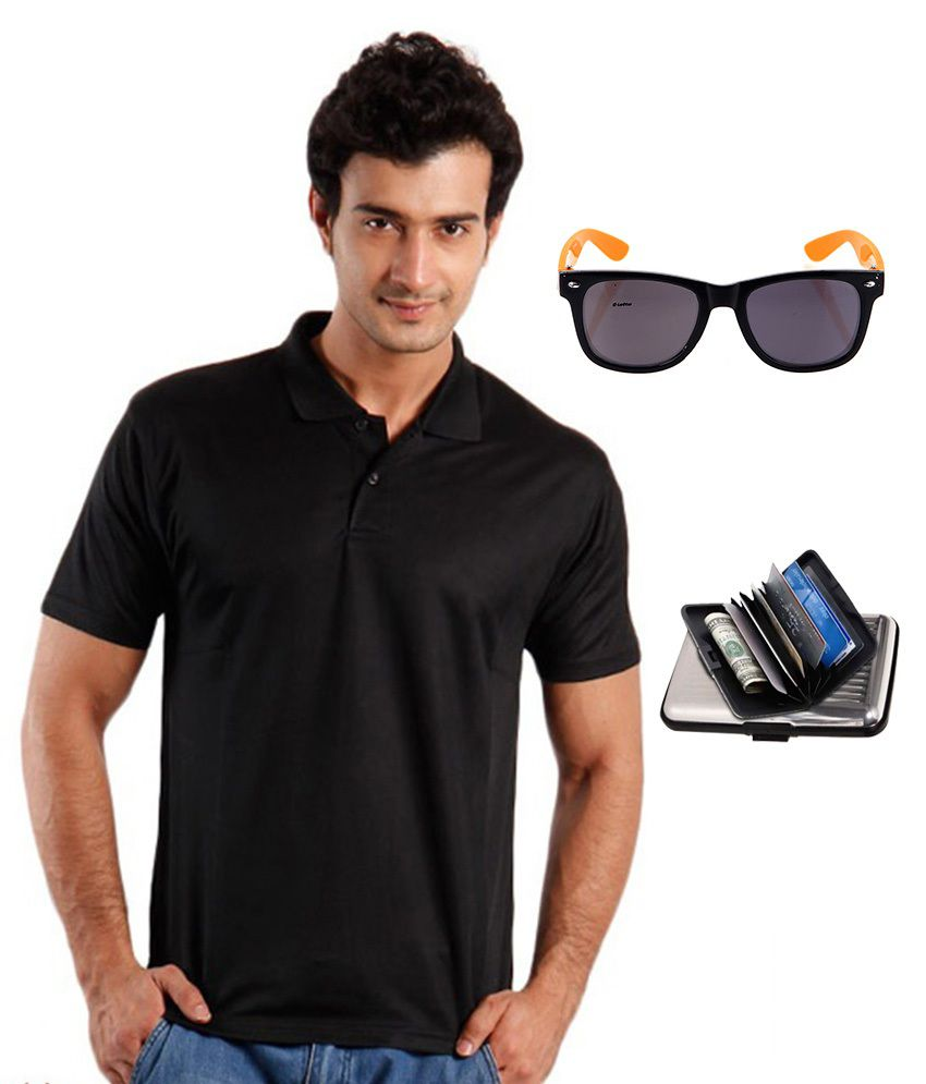 Reebok Black T-shirt With Lotto Sunglasses And Elligator Cardholder  available at snapdeal for Rs.568
