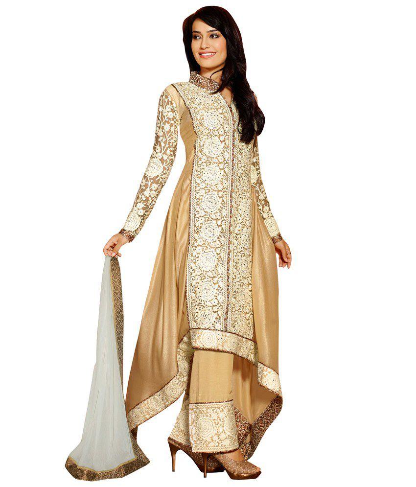 Saree.com Tan Embroidered Pure Georgette Stitched Anarkali Salwar Suit