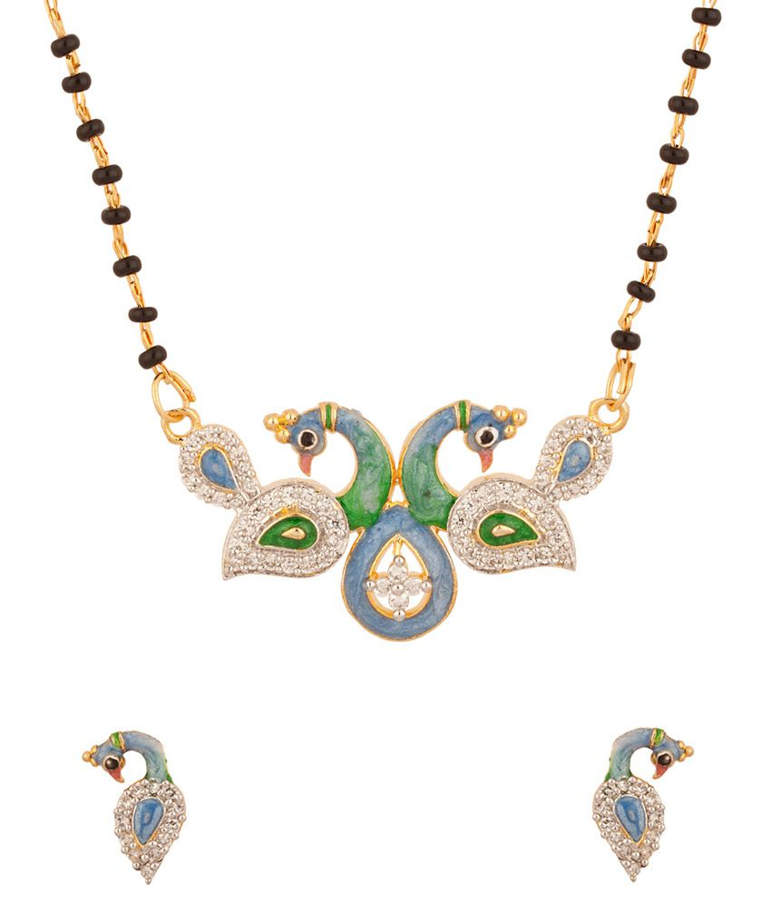 Voylla Mangalsutra With Peacock Motif Embellished With Cz With Blue And Green Enamel