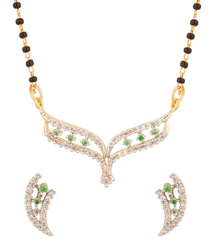 Voylla Single Chain And Y Shaped Mangalsutra With Green Colored Stones