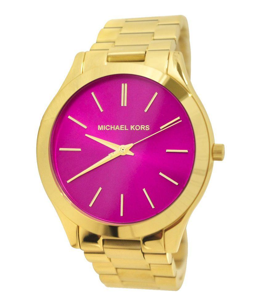 Michael Kors Women S Slim Runway Gold Tone Stainless Steel Bracelet Watch 42mm Mk3264