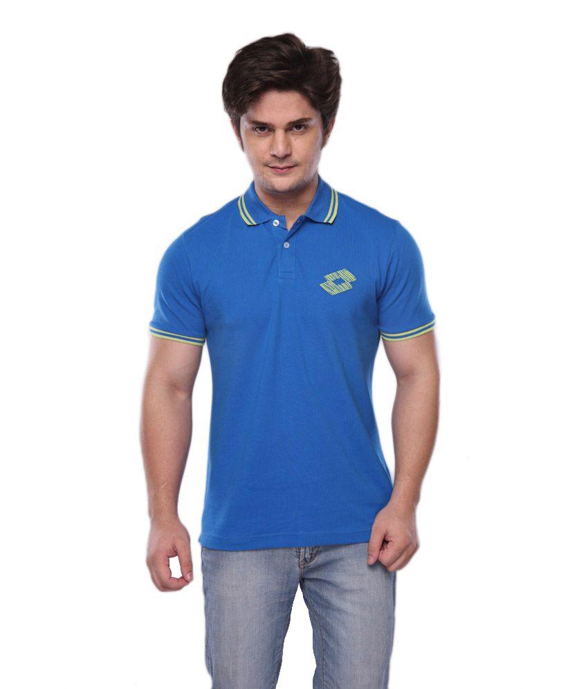 Lotto Blue Half Polo T-shirt