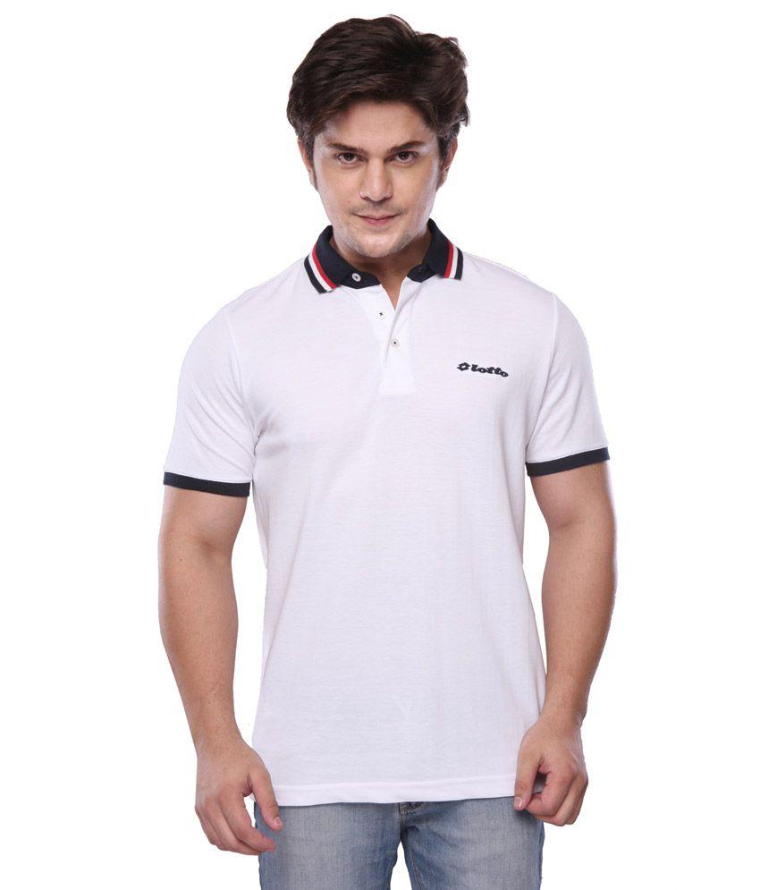 Lotto White Half Polo T-shirt