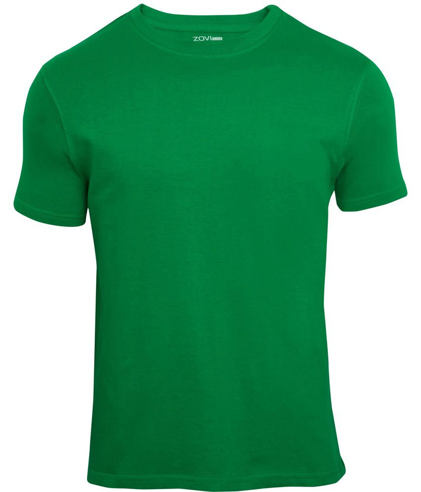 Zovi Indian Green Solid Round Neck T-shirt